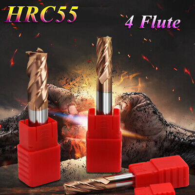 Steel CNC Straight Shank Milling Cutter End Mill Carbide Tin Coated 4 Flute