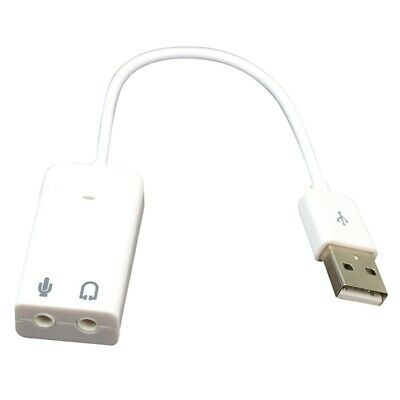 White USB 2.0 3D Virtual 7.1 Channel Audio Sound Card Adapter for PC Laptop H2K9