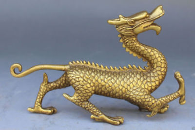 Collect old Chinese Bronze Copper Fengshui God Animal Beast Dragons evil Statues