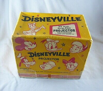 Vintage Estate Disneyville 35 Mm Strip Film Projector & 9 Films Original Box