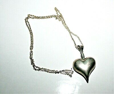 """Vintage Signed Mexico Sterling Silver Heart Perfume Bottle Pendant 23"""" Necklace"""