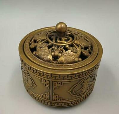 EXQUISITE Collect old brass handicraft carp hollow out Incense burner YT
