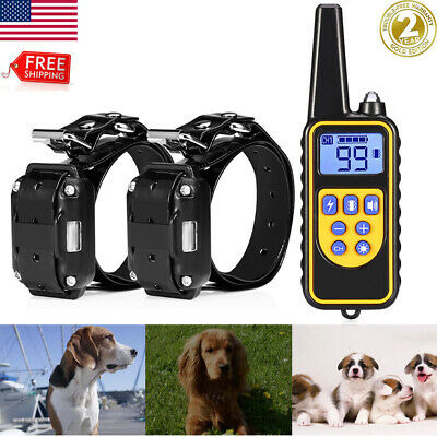 Electric Dog Pet Training Shock Collar Waterproof Rechargeable Remote 800 Yard