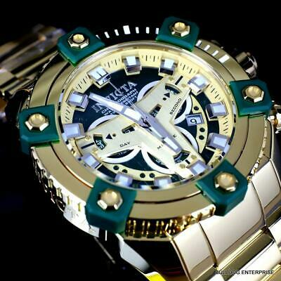 Invicta Grand Octane Coalition Forces Gold Plated Swiss Mvt Green 63mm Watch New