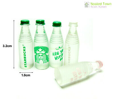 5 Dollhouse Miniature 1:12 Starbucks Water Bottles Shop Pub Bar Drink Beverage