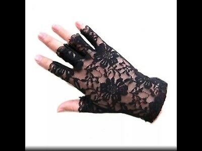 Black Lace Gloves Semi Fingerless Sunscreen Stretchable Lace Mittens Women