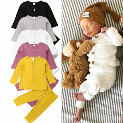 UK Newborn Baby Girl Boy Solid Clothes Knitted Cardigan Tops Long Pants Outfits