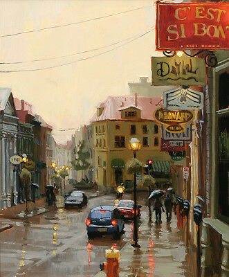 "Rainy street Cityscape Oil Painting Giclee Art Printed on canvas 16""x20"" L222"