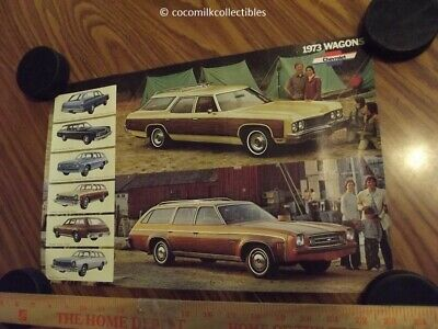1973 Chevrolet Chevy Station Wagons Brochure Mini Poster Malibu Chevelle Impala