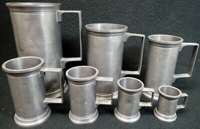 Vintage Pewter Graduated Size Tankards Measuring Cups Steins