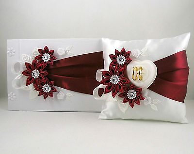 Guestbook + Ringpillow New Colour Selection Box for Wedding Ring Set