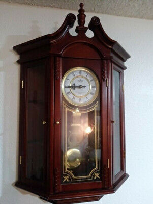 Westminster chime cherry curio wall clock