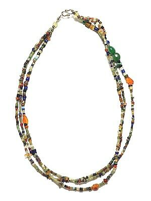 Ancient rare Antique Roman lovely mixed color glass bead Beads Necklace