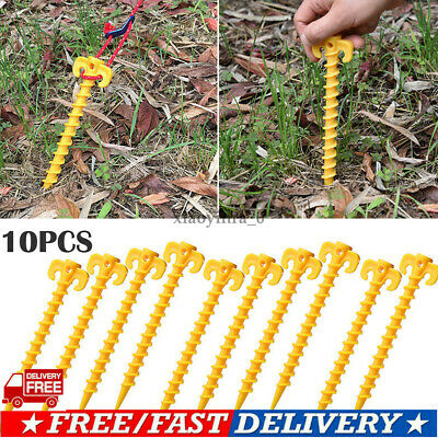 US 10pcs Hook Plastic Stakes Support Ground Nail Tent Peg Screw Anchor Shelter n
