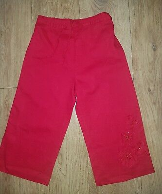 Girls Cropped Red Trousers 9 years