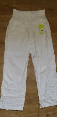 Maternity White Cotton Trousers size 12R Blooming Marvellous Pregnant/Summer NEW