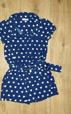 NEXT Girls Navy/White Hearts Romper/Dress/Outfit Age 4 with Belt Belt Kids