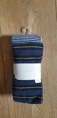 Mothercare Girls 2 pair Tights 9-10 years Navy/Grey NEW Kids Girl's Tights