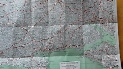 1937 Vintage Geographia large scale Bournemouth Map. Material Cloth Backed.
