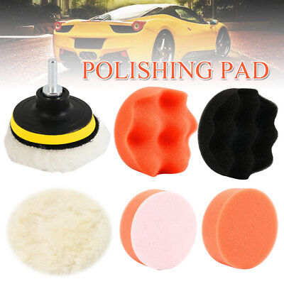 6pcs Car Polisher 3″ Sponge Polishing Waxing Buffing Pads Kit With Drill Adapter