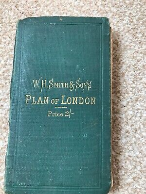 WH Smith & Sons Plan Of London Pocketbook Cloth Map Signed By War Office Antique
