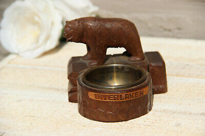 Antique hand Black forest wood carved swiss bear statue ashtray interlaken