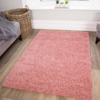 New Blush Small Large Thick Plain Soft Shaggy Living Room Rug Bedroom Floor Rugs