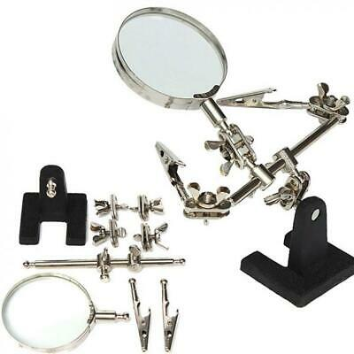 Helping Hand Soldering Stand W/ Magnifier Magnifying Glass Lens Alligator Clip