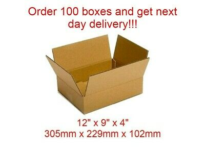 "SINGLE WALL 12"" x 9"" x 4"" POSTAL MAILING CARDBOARD BOXES PACKING HIGH QUALITY"