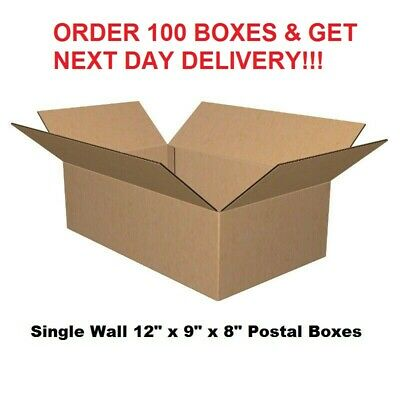 """HIGH QUALITY SINGLE WALL POSTAL MAILING CARDBOARD BOXES PACKING 12"""" x 9"""" x 8"""""""