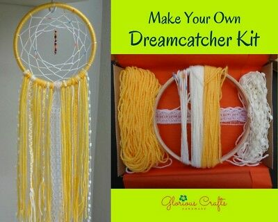 "DIY Dreamcatcher Kit, 6"", yellow, Bohemian, Craft Kit, Birthday, Christmas, Gift"