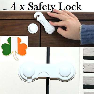 4xBaby Drawer Locks Child Safety Locks for Drawers Cabinet Wardrobe Fridge White