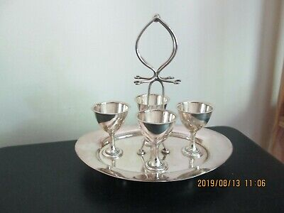 Antique/vintage silver plate 4 egg cruet cup holder breakfast set