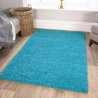 TEAL SHAGGY RUG 30mm HIGH PILE SMALL LARGE THICK SOFT LIVING ROOM FLOOR BEDROOM