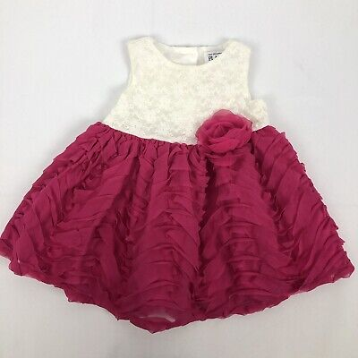 The Childrens Place Ruffle Lace Dress Baby Girl 9 - 12 Months Pink White