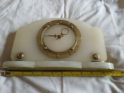 Absolutely stunning Art Deco Brass And Marble Mantle Clock.