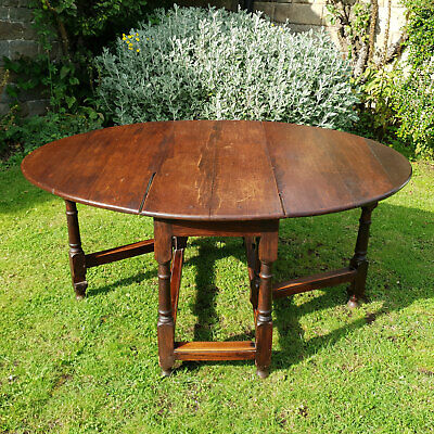 C18th Georgian Oak Gateleg Drop Leaf Oval Dining Table (George I/II)