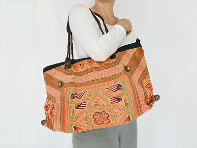 Large Vintage Hmong Embroidered Applique and Hemp Bag from Thailand