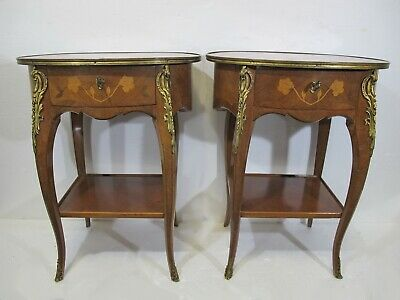 Vintage pair of French Louis XV style side tables marked Meredith # D10173