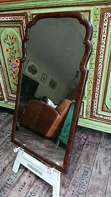Beautiful Antique Victorian wooden wall mirror country house mahogany scalloped