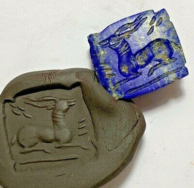 Lapis Lazuli Stone Intaglio  Animal Stamp Seal Bead Pendant 5.8gr 25mm
