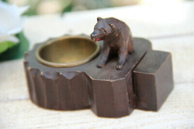 Antique hand Black forest wood carved swiss bear statue ashtray
