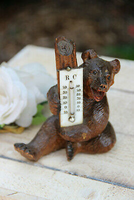 Antique hand Black forest wood carved swiss bear statue figurine