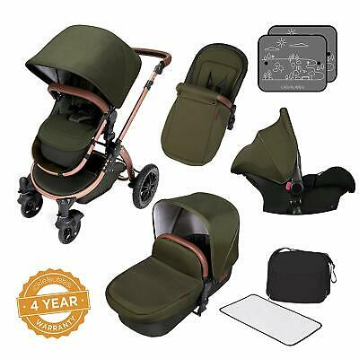 Pushchair Pram Buggy Stroller With Car Seat Carrycot Footmuff Rain cover