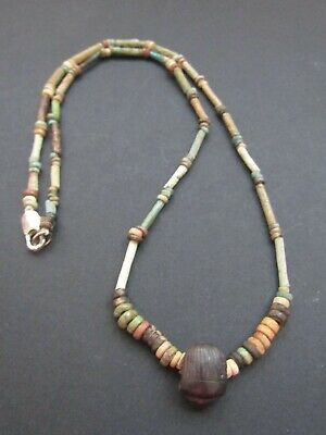 NILE Ancient Egyptian Stone Scarab Amulet Mummy Bead Necklace ca 1000 BC