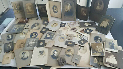 Assorted Lot of 80 Victorian Photographs Cabinet Cards Etc