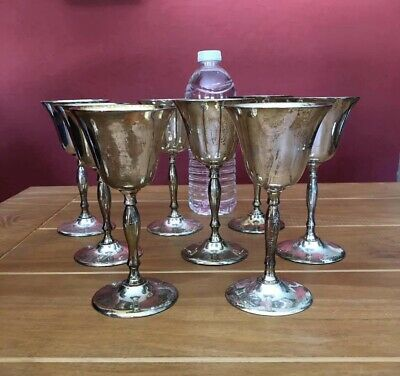 SET of 8 Vintage Leonard EPNS Small Goblets Silver Plated - Made in India