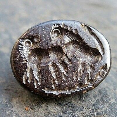 OLD Roman Intaglio Double Wingless GRIFFIN Battling Eagle Lion Garnet Stamp Bead