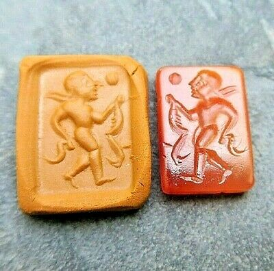 ANTIQUE Carnelian Roman Intaglio Man Dancing Under Full Moon Signet Stamp Stone