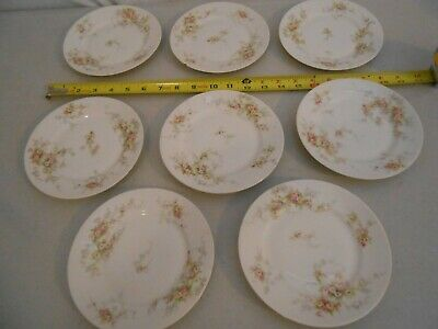 """Set 8 Theodore Haviland Limoges France 6.5 """" Plates Pink & Yellow Rose Schleiger"""